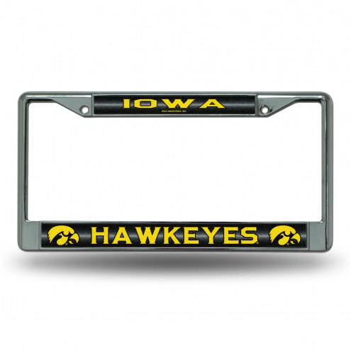 Iowa Hawkeyes Chrome Glitter License Plate Frame
