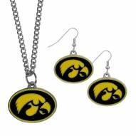 Iowa Hawkeyes Dangle Earrings & Chain Necklace Set