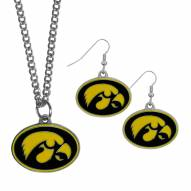Iowa Hawkeyes Dangle Earrings & Chain Necklace Set