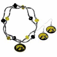 Iowa Hawkeyes Dangle Earrings & Crystal Bead Bracelet Set