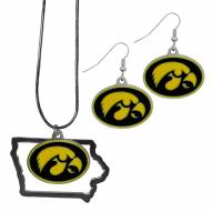 Iowa Hawkeyes Dangle Earrings & State Necklace Set