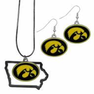 Iowa Hawkeyes Dangle Earrings & State Necklace Set