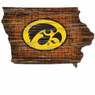 Iowa Hawkeyes Distressed State with Logo Sign