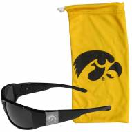 Iowa Hawkeyes Etched Chrome Wrap Sunglasses & Bag