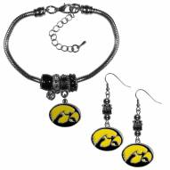 Iowa Hawkeyes Euro Bead Earrings & Bracelet Set