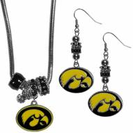 Iowa Hawkeyes Euro Bead Earrings & Necklace Set
