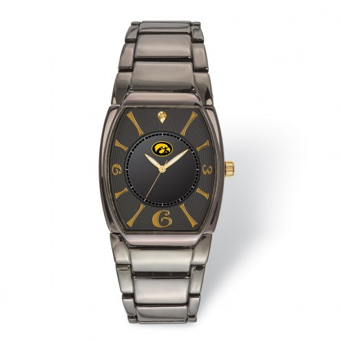 Iowa Hawkeyes Executive Black Plated Watch