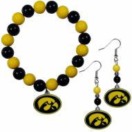 Iowa Hawkeyes Fan Bead Earrings & Bracelet Set