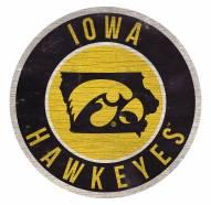 Iowa Hawkeyes Round State Wood Sign