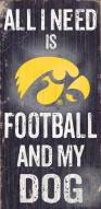 Iowa Hawkeyes Football & Dog Wood Sign