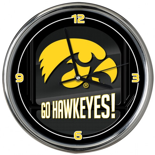 Iowa Hawkeyes Go Team Chrome Clock