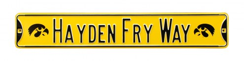 Iowa Hawkeyes Hayden Fry Street Sign