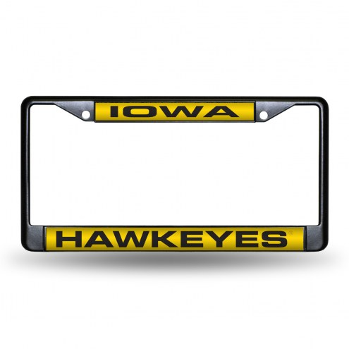 Iowa Hawkeyes Laser Black License Plate Frame