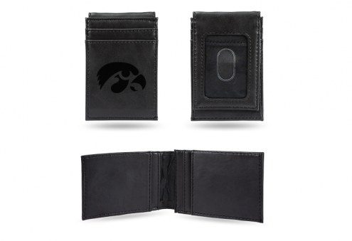 Iowa Hawkeyes Laser Engraved Black Front Pocket Wallet