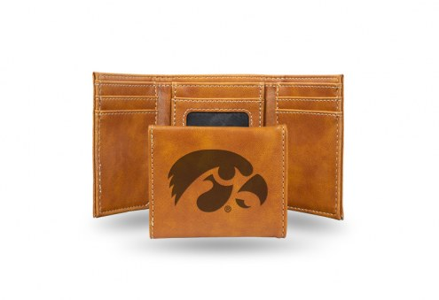 Iowa Hawkeyes Laser Engraved Brown Trifold Wallet