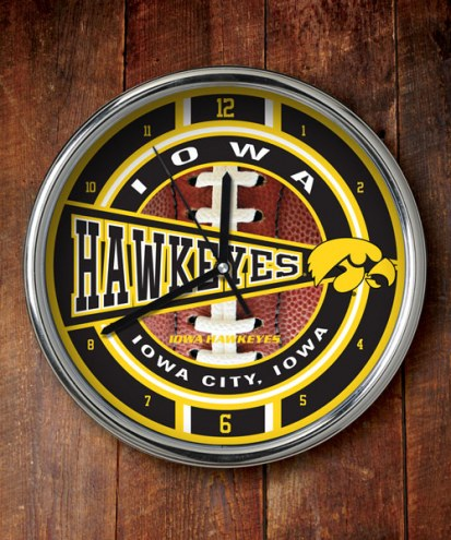 Iowa Hawkeyes NCAA Chrome Wall Clock
