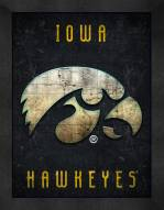 Iowa Hawkeyes Retro Logo Map Framed Print