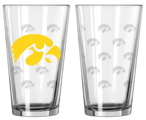 Iowa Hawkeyes Satin Etch Pint Glass - Set of 2