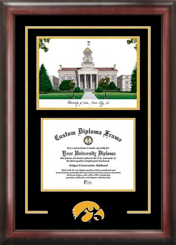 Iowa Hawkeyes Spirit Diploma Frame with Campus Image