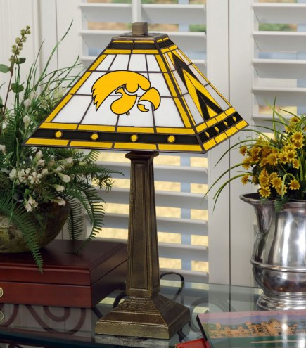 Iowa Hawkeyes Stained Glass Mission Table Lamp