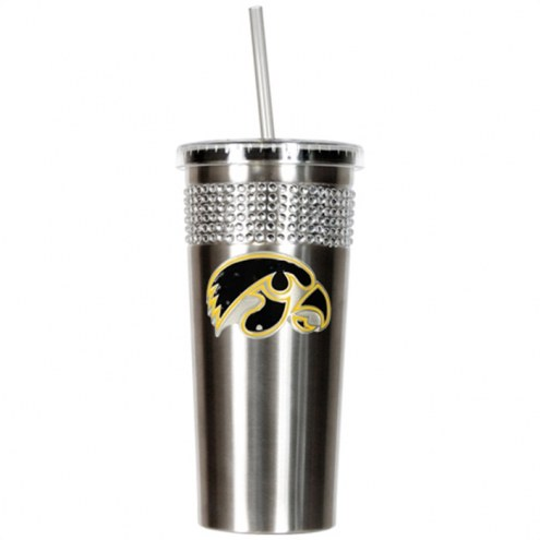 Iowa Hawkeyes Stainless Steel Bling Tumbler with Straw