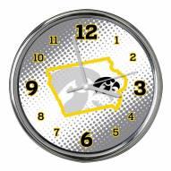 Iowa Hawkeyes State of Mind Chrome Clock