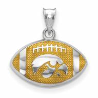 Iowa Hawkeyes Sterling Silver Enameled Football Pendant