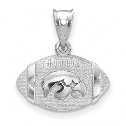 Iowa Hawkeyes Sterling Silver Football with Logo Pendant