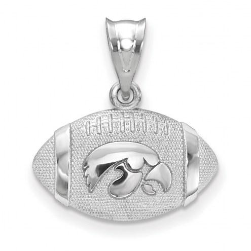 Iowa Hawkeyes Sterling Silver Football with Logo Pendant