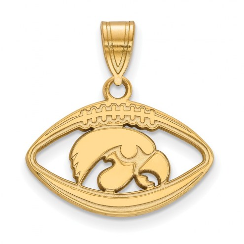Iowa Hawkeyes Sterling Silver Gold Plated Football Pendant