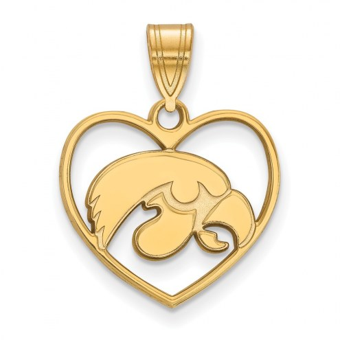 Iowa Hawkeyes Sterling Silver Gold Plated Heart Pendant