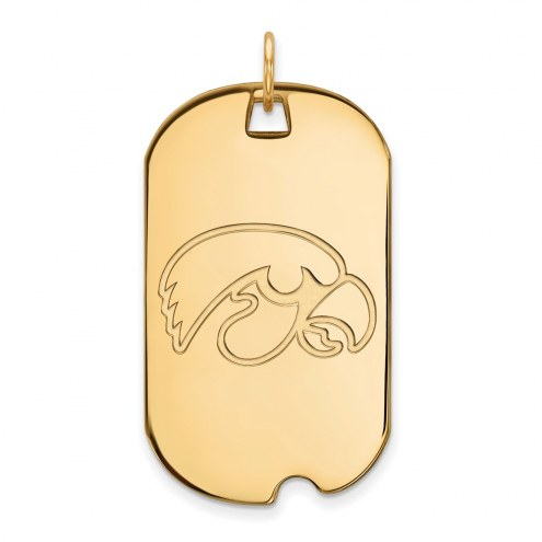 Iowa Hawkeyes Sterling Silver Gold Plated Large Dog Tag