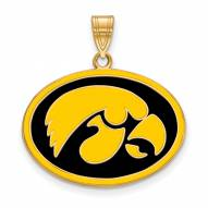 Iowa Hawkeyes Sterling Silver Gold Plated Large Enameled Pendant