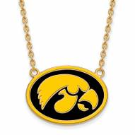 Iowa Hawkeyes Sterling Silver Gold Plated Large Pendant Necklace