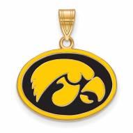 Iowa Hawkeyes Sterling Silver Gold Plated Medium Enameled Pendant