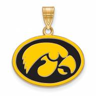 Iowa Hawkeyes Sterling Silver Gold Plated Medium Enameled Pendant