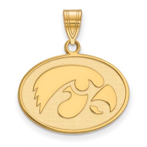 Iowa Hawkeyes Sterling Silver Gold Plated Medium Pendant