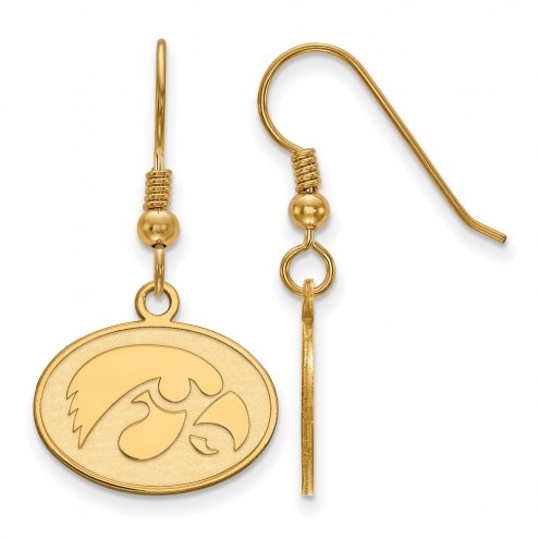 Iowa Hawkeyes Sterling Silver Gold Plated Small Dangle Earrings