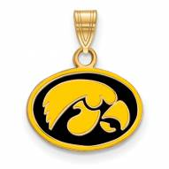 Iowa Hawkeyes Sterling Silver Gold Plated Small Enameled Pendant