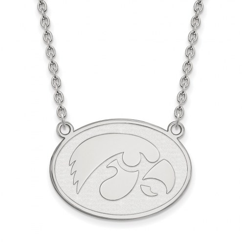 Iowa Hawkeyes Sterling Silver Large Pendant Necklace