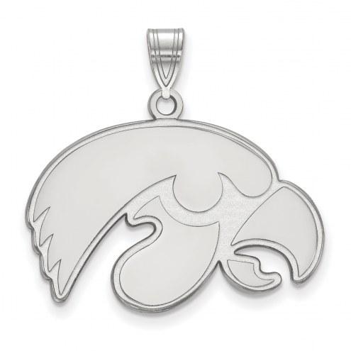Iowa Hawkeyes Sterling Silver Large Pendant