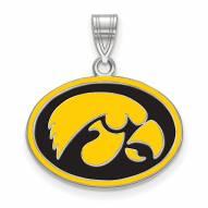 Iowa Hawkeyes Sterling Silver Medium Enameled Pendant