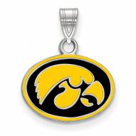 Iowa Hawkeyes Sterling Silver Small Enamel Pendant