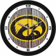 Iowa Hawkeyes Weathered Wood Wall Clock