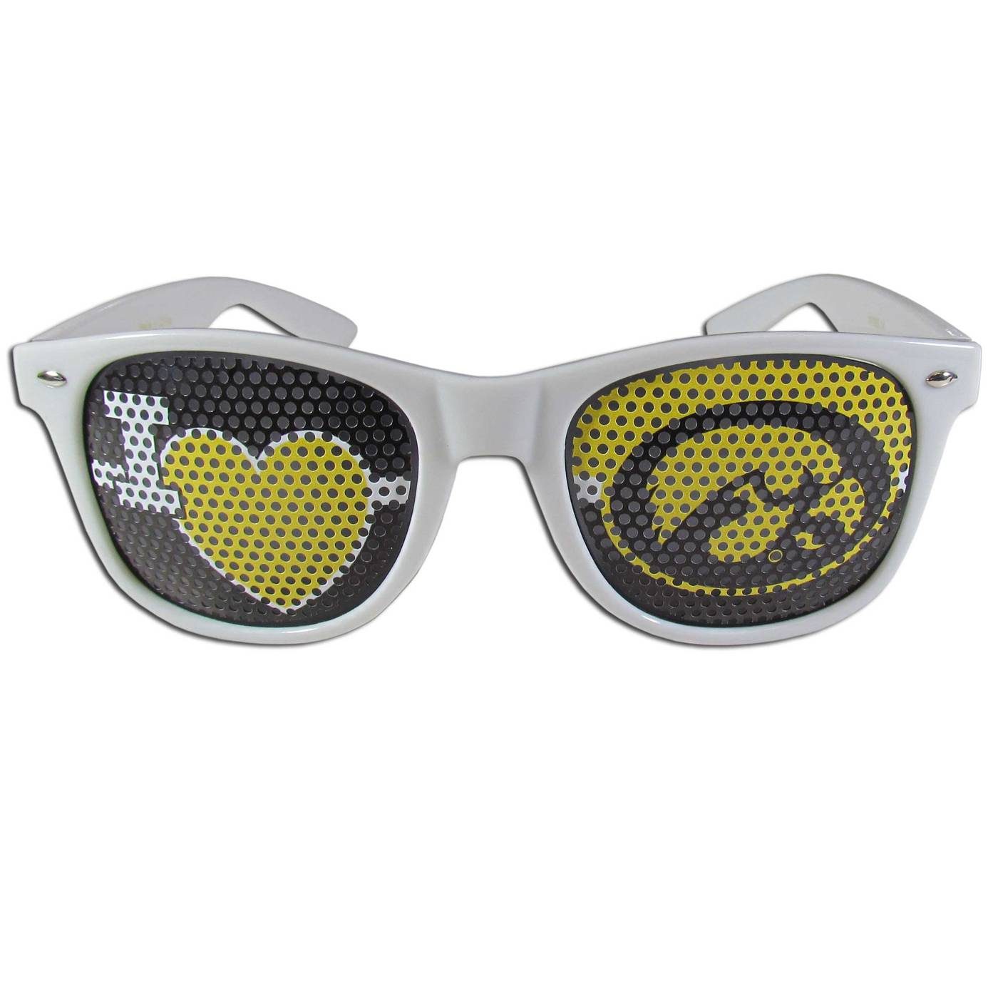 Iowa Hawkeyes White I Heart Game Day Shades