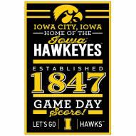 Iowa Hawkeyes Established Wood Sign