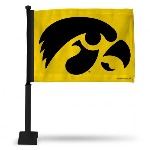 Iowa Hawkeyes Yellow Car Flag with Black Pole