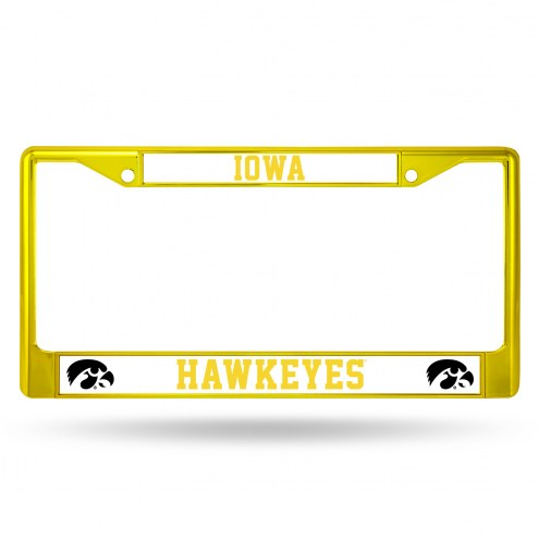 Iowa Hawkeyes Yellow Colored Chrome License Plate Frame