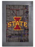 """Iowa State Cyclones 11"""" x 19"""" City Map Framed Sign"""