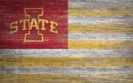 """Iowa State Cyclones 11"""" x 19"""" Distressed Flag Sign"""
